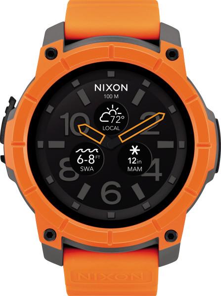 Nixon Smart Watch Mission Uhr Orange Grau Schwarz Analog Outdoor Polycarbonat