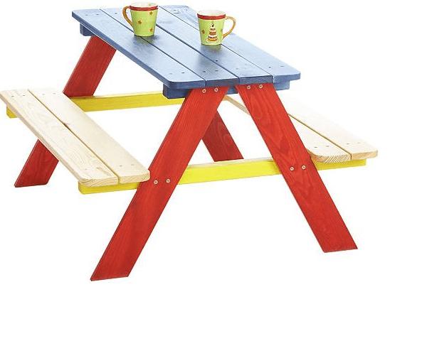 Pinolino Kindersitzgarnitur Nicki für 4 aus massivem Holz bunt