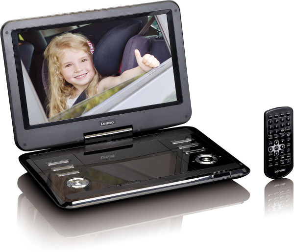 "Lenco DVP-1210 12"" HD DVD-Player KfZ Adapter Schwarz Neuwertig"