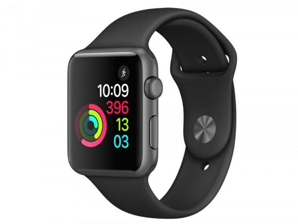 Apple Watch Series 1 spacegrau Aluminium 42mm Sportarmband schwarz Smartwatch