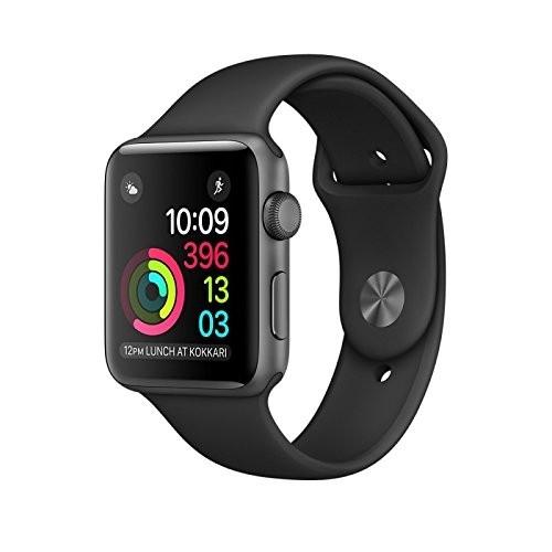 Apple Watch Series 2 spacegrau 42mm Aluminium Sportarmband schwarz Smartwatch