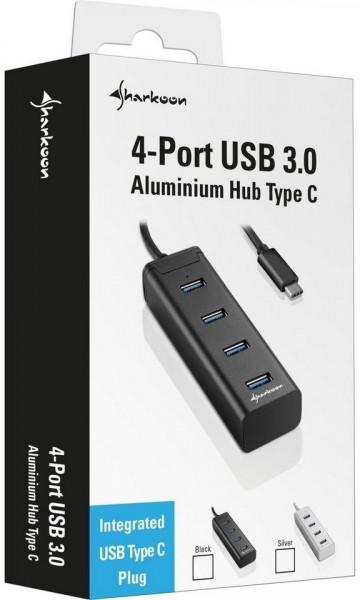Sharkoon 4-Port Aluminium Hub USB 3.0 Type C schwarz
