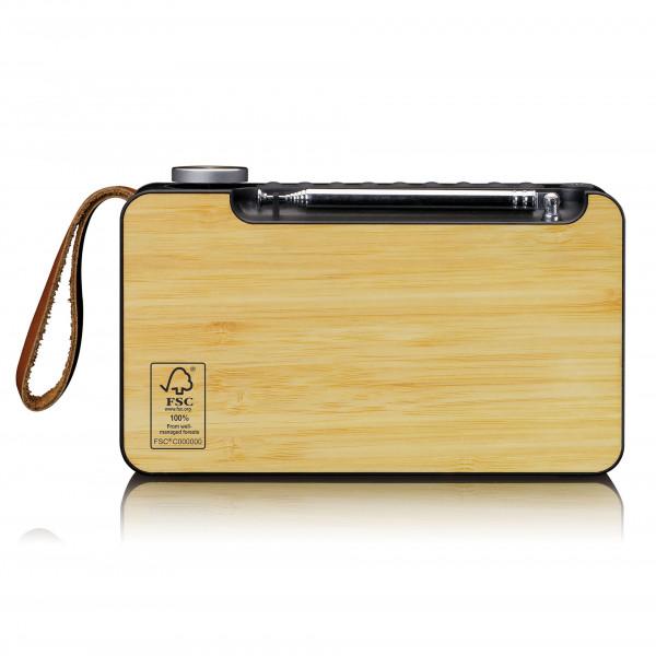 LENCO tragbares DAB+/ FM Radio mit Bluetooth aus echtem Bambus schwarz