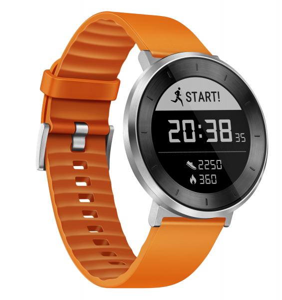 Huawei Smartband FIT Moonlight Silver Armband Orange, Gr. S Smartwatch Sportuhr