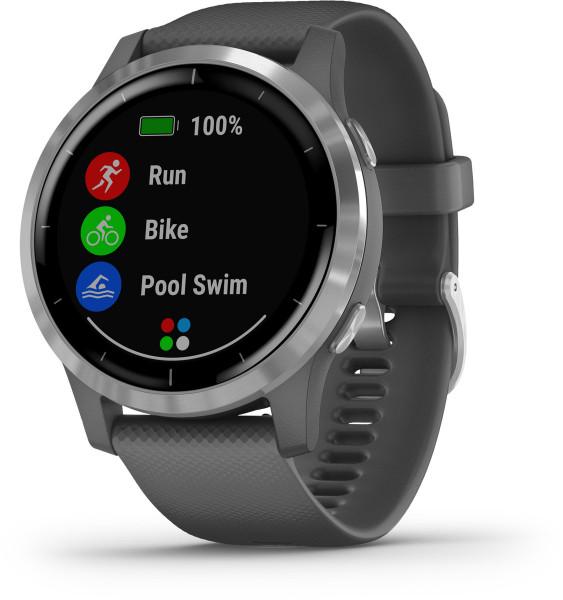 Garmin vivoactive 4 Dunkelgrau Silber Android iOS Smartwatch GPS Fitness Tracker