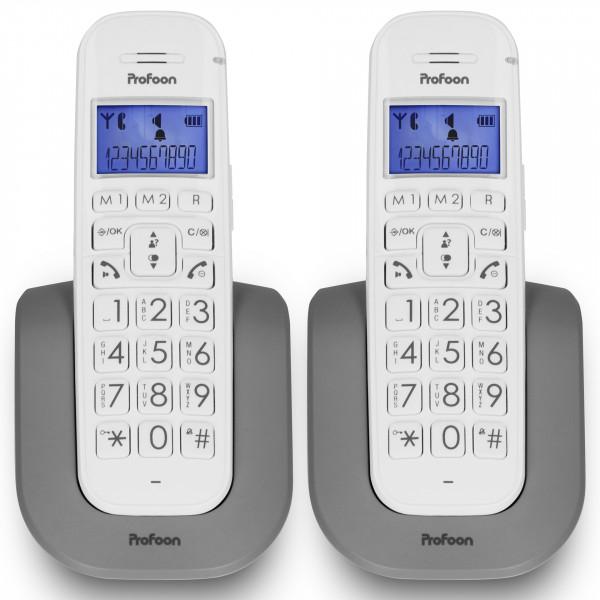 PROFOON Festnetz DECT-Telefon 2 Mobilteilen weiß Hörgerätekompatibel