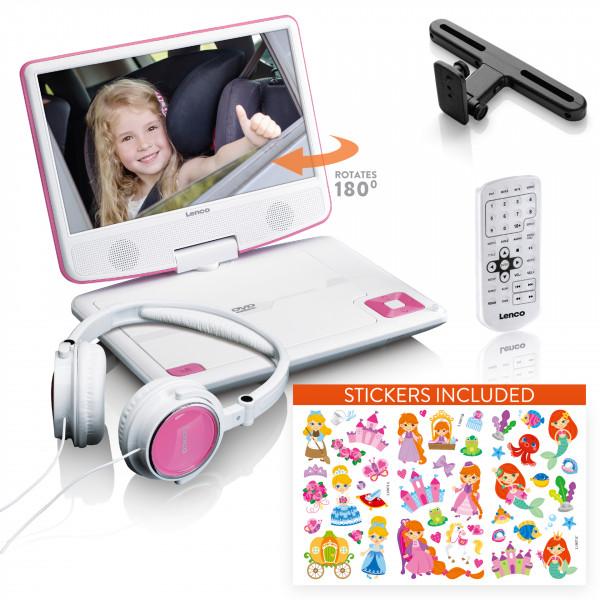 """LENCO Port 9"""" DVD Player mit Halterung und pinken Kopfhörern"""