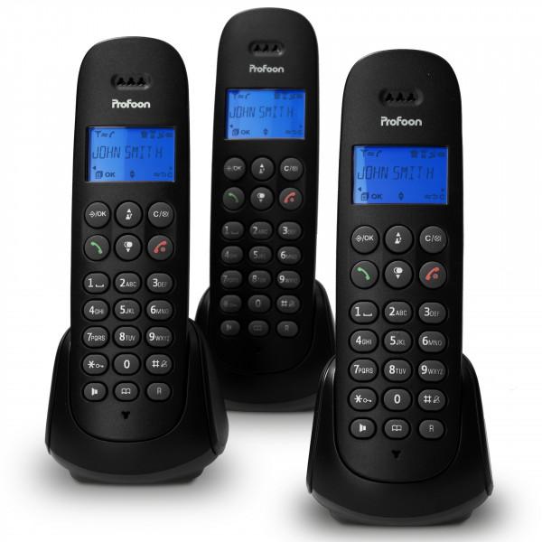 PROFOON Festnetz DECT-Telefon mit 3 Mobilteilen schwarz beleuchtetes Display
