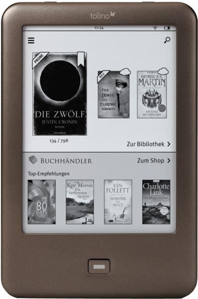 Tolino Shine eBook-Reader Touchscreen braun