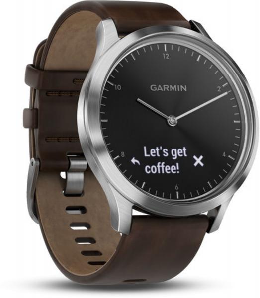 Garmin Vivomove HR Premium Schwarz/Silber Lederband Smartwatch Fitness Tracker