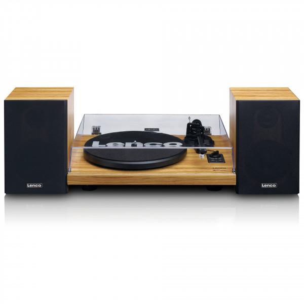 LENCO Holz-Plattenspieler Riemenantrieb Bluetooth hölzernes Lautsprecherset