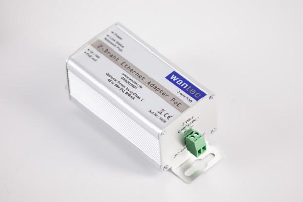 wantec 2wIP 2-Draht Ethernet Adapter mit PoE/ Schraubklemmen