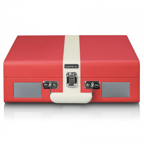 LENCO Koffer-Plattenspieler Retro Bluetooth eingebaute Lautsprecher rot weiß