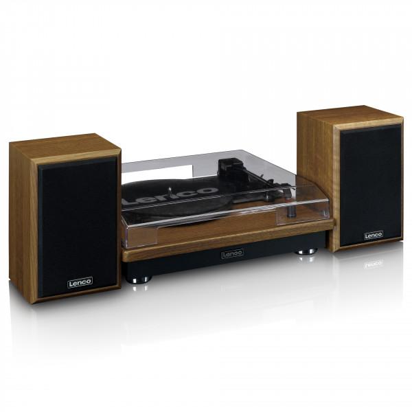 LENCO LS-100WD Plattenspieler mit 2 externen Lautsprechern Bluetooth Holzoptik